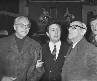 Herluf Bidstrup, Ilya Glazunov and Jean Effel in the Artist's Studio. Moscow
