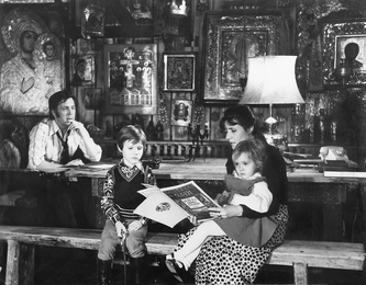 In the Artist`s Studio. Ilya Glazunov with His Wife Nina Vinogradova-Benois and their Children
