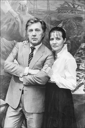 Ilya Glazunov with His Wife Nina Vinogradova-Benois. Exhibition in Germany.