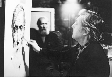 Ilya Glazunov at Work on the Portrait of the Old Siberian