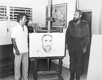 Ilya Glazunov and Fidel Castro at the Painted Portrait. Havana