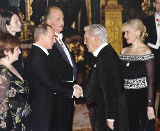 Король Испании Хуан Карлос I, принцесса Летиция, президент Российской Федерации В.В. Путин с супругой, И.С. Глазунов, И.Д. Орлова в Испании