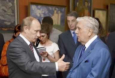 Владимир Владимирович Путин и Илья Сергеевич Глазунов в Галерее художника на Волхонке