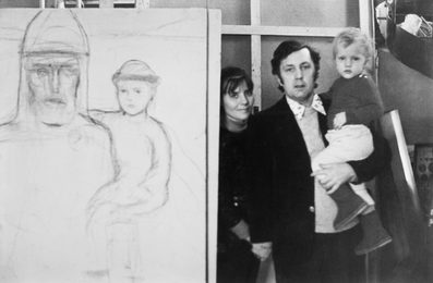 "Ilya Glazunov with His Wife Nina Vinogradova-Benois and Their Son Vanya by the Sketch of the Picture ""Prince Oleg and Prince Igor"""