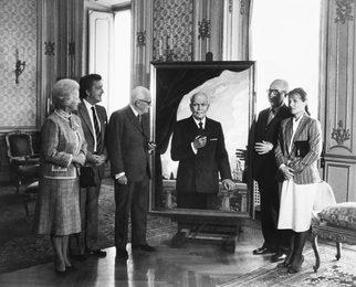 The President of Italy Shows the Finished Portrait to the Soviet Ambassador in Italy Lunkov. Rome. The Quirinal Palace