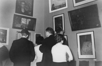 Audience at the First Exhibition of Ilya Glazunov. The Central House of Art Workers. Moscow