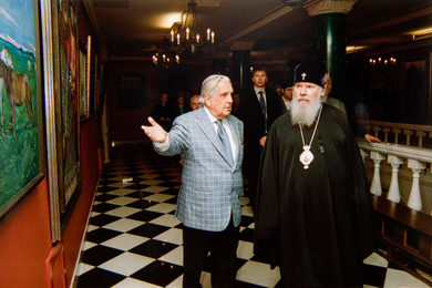 Ilya Glazunov and Patriarch Alexy II in the Gallery of People's Artist of the USSR Ilya Glazunov