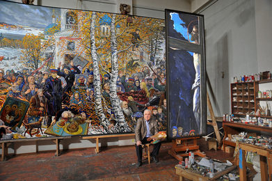 "In the Artist's Studio. Ilya Glazunov is Working at His Painting ""Decollectivization"""