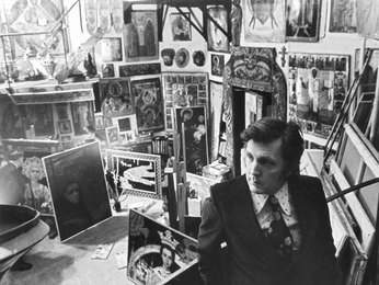 Ilya Glazunov Is in His Studio. Moscow