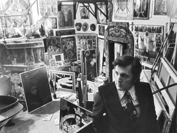Илья Глазунов в своей мастерской. Москва