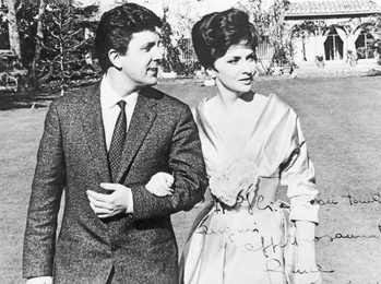 Ilya Glazunov and Gina Lollobrigida at her Villa on Appia Antica. Rome.Italy