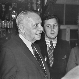 American Businessman Armand Hammer and Ilya Glazunov in the Artist's Studio. Moscow
