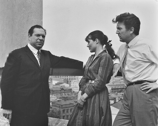 Italian Screenwriter Ennio de Concini, N.A. Vinogradova-Benois, I.S. Glazunov on the Roof of the Artist's Studio. Moscow