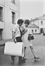 Ilya Glazunov and Italian Actress Claudia Cardinale after Finishing Work on Her Portrait. Moscow