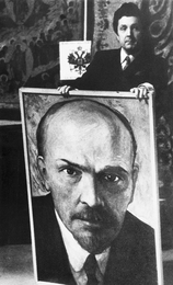 Ilya Glazunov with a Portrait of V. Lenin. Moscow